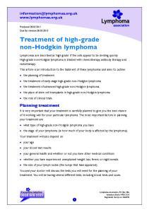 Treatment of high-grade non-hodgkin lymphoma
