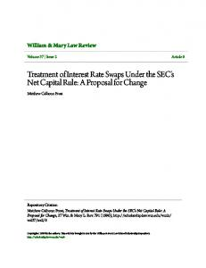 Treatment of Interest Rate Swaps Under the SEC's Net Capital Rule: A Proposal for Change