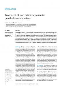 Treatment of iron deficiency anemia: practical considerations