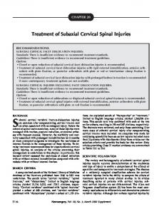 Treatment of Subaxial Cervical Spinal Injuries