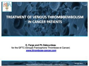 TREATMENT OF VENOUS THROMBOEMBOLISM IN CANCER PATIENTS