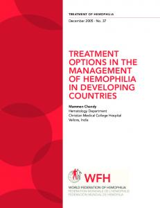 TREATMENT OPTIONS IN THE MANAGEMENT OF HEMOPHILIA IN DEVELOPING COUNTRIES