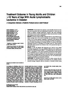 Treatment Outcome in Young Adults and Children >10 Years of Age With Acute Lymphoblastic Leukemia in Sweden