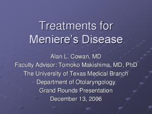 Treatments for Meniere s Disease