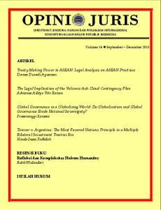 Treaty Making Power in ASEAN: Legal Analysis on ASEAN Practices Damos Dumoli Agusman