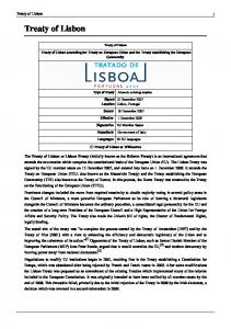Treaty of Lisbon. Treaty of Lisbon amending the Treaty on European Union and the Treaty establishing the European Community