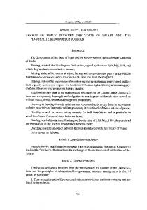 TREATY OF PEACE BETWEEN THE STATE OF ISRAEL AND THE HASHEMITE KINGDOM OF JORDAN
