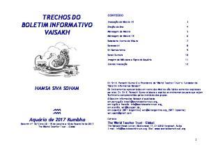 TRECHOS DO BOLETIM INFORMATIVO VAISAKH