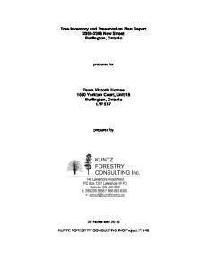 Tree Inventory and Preservation Plan Report New Street Burlington, Ontario