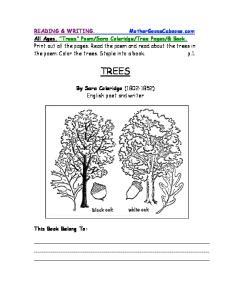TREES. By Sara Coleridge ( ) English poet and writer