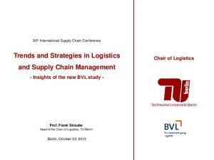 Trends and Strategies in Logistics and Supply Chain Management