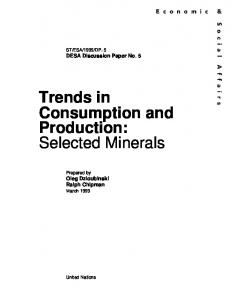 Trends in Consumption and Production: Selected Minerals