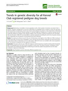 Trends in genetic diversity for all Kennel Club registered pedigree dog breeds