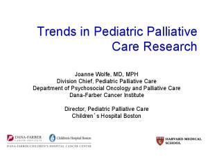Trends in Pediatric Palliative Care Research