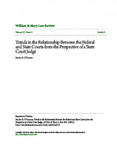 Trends in the Relationship Between the Federal and State Courts from the Perspective of a State Court Judge
