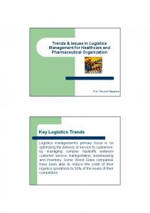 Trends & Issues in Logistics Management for Healthcare and Pharmaceutical Organization