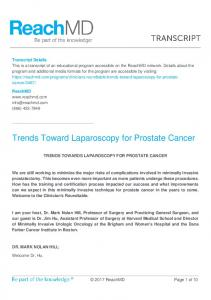 Trends Toward Laparoscopy for Prostate Cancer