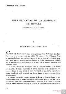 TRES ESTAMPAS DE LA HISTORIA DE MURCIA