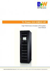 Tri Power X33 HIMOD HP. High Performance modular UPS-System User Manual