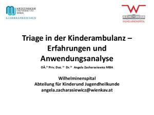 Triage in der Kinderambulanz Erfahrungen und Anwendungsanalyse