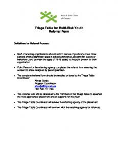 Triage Table for Multi-Risk Youth Referral Form