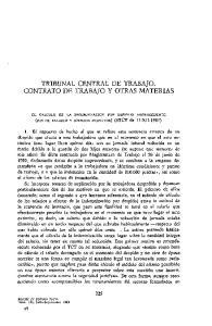 TRIBUNAL CENTRAL DE TRABAJO. CONTRATO DE TRABAJO Y OTRAS MATERIAS