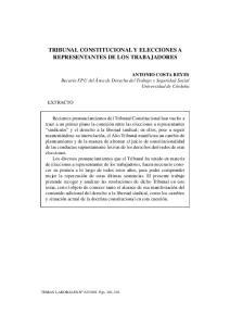 TRIBUNAL CONSTITUCIONAL Y ELECCIONES A REPRESENTANTES DE LOS TRABAJADORES