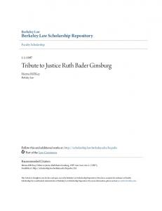 Tribute to Justice Ruth Bader Ginsburg