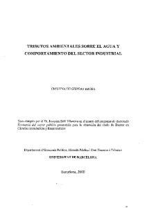 TRIBUTOS AMBIENTALES SOBRE EL AGUA Y COMPORTAMIENTO DEL SECTOR INDUSTRIAL