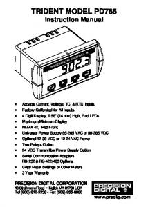 TRIDENT MODEL PD765 Instruction Manual