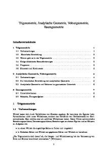 Trigonometrie, Analytische Geometrie, Vektorgeometrie, Raumgeometrie