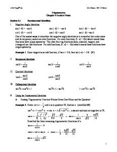 Trigonometry Chapter 5 Lecture Notes