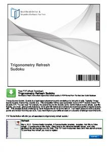 Trigonometry Refresh Sudoku