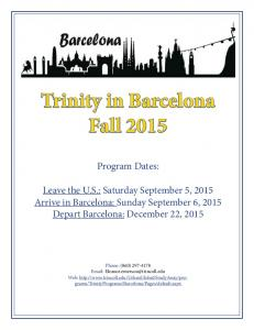 Trinity in Barcelona Fall 2015