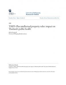 TRIPS-Plus intellectual property rules: impact on Thailand's public health