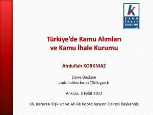 Türkiye de Kamu Alımları ve Kamu İhale Kurumu