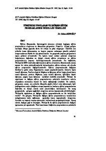 TÜRKİYE DE UYGULANAN VE DEĞİŞEN EĞİTİM PROGRAMLARININ PSİKOLOJİK TEMELLERİ
