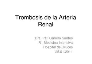 Trombosis de la Arteria Renal. Dra. Irati Garrido Santos R1 Medicina Intensiva Hospital de Cruces