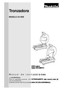 Tronzadora. Manual de instrucciones MODELO 2414NB DOBLE AISLAMIENTO