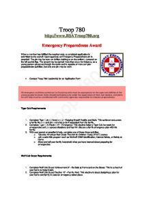 Troop Emergency Preparedness Award
