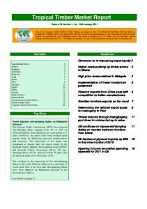 Tropical Timber Market Report