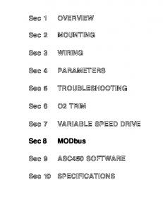 TROUBLESHOOTING VARIABLE SPEED DRIVE ASC450 SOFTWARE. Sec 10 SPECIFICATIONS