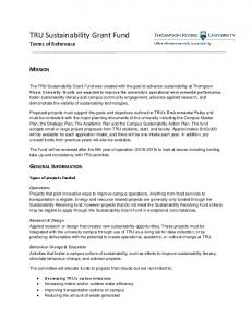 TRU Sustainability Grant Fund Terms of Reference