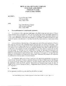 TRUE ALASKA BOTTLING COMPANY PURCHASE AGREEMENT FOR RAW WATER IN BULK FOR EXPORT