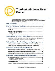 TruePort Windows User Guide Chapter