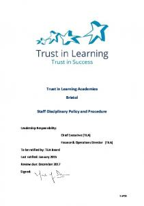 Trust in Learning Academies. Bristol. Staff Disciplinary Policy and Procedure