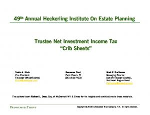 Trustee Net Investment Income Tax Crib Sheets