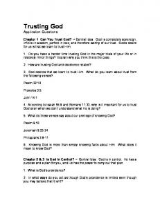 Trusting God Application Questions