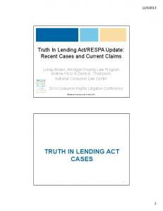 TRUTH IN LENDING ACT CASES