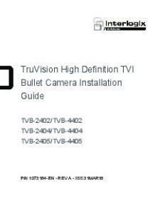 TruVision High Definition TVI Bullet Camera Installation Guide